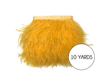 10 Yards - Golden Yellow Ostrich Fringe Trim Wholesale Feather (Bulk)