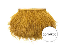 10 Yards - Antique Gold Ostrich Fringe Trim Wholesale Feather (Bulk)