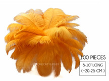"100 Pieces - 8-10"" Golden Yellow Ostrich Dyed Drab Body Wholesale Feathers (Bulk)"