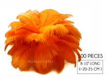 "100 Pieces - 8-10"" Orange Ostrich Dyed Drab Body Wholesale Feathers (Bulk)"