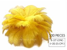 "100 Pieces - 8-10"" Yellow Ostrich Dyed Drab Body Wholesale Feathers (Bulk)"
