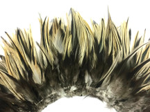 "4 Inch Strip - 6-7"" Natural Golden Badger Strung Chinese Rooster Saddle Feathers"