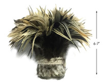 """1 Yard - 6-7"""" Natural Golden Badger Strung Chinese Rooster Saddle Wholesale Feathers (Bulk)"""
