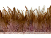 1 Yard - Dyed Taupe Over Natural Rooster Neck Hackle Saddle Feather Wholesale Trim