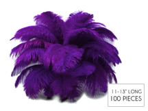 "100 Pieces - 11-13"" Purple Ostrich Drabs Wholesale Body Feathers (Bulk)"