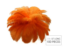 "100 Pieces - 11-13"" Orange Ostrich Drabs Wholesale Body Feathers (Bulk)"