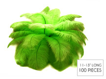 "100 Pieces - 11-13"" Lime Green Ostrich Drabs Wholesale Body Feathers (Bulk)"
