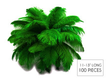 """100 Pieces - 11-13"""" Kelly Green Ostrich Drabs Wholesale Body Feathers (Bulk)"""