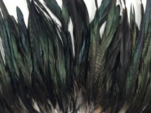 "10 Pieces -  16-18"" Natural Black Half Bronze Coque Tail Strung Feathers"