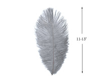 "10 Pieces - 11-13"" Silver Gray Ostrich Dyed Drabs Feathers"