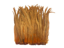 "1/2 Yard -  14-16"" Antique Gold Strung Natural Bleach & Dyed Rooster Coque Tail Wholesale Feathers (Bulk)"