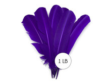 1 Lb. - Purple Turkey Tom Rounds Secondary Wing Quill Wholesale Feathers (Bulk)