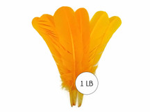 1 Lb. - Gold Turkey Tom Rounds Secondary Wing Quill Wholesale Feathers (Bulk)