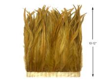 "1 Yard - 10-12"" Antique Gold Bleach Coque Tails Long Feather Trim (Bulk)"