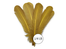 1/4 Lb - Antique Gold Turkey Tom Rounds Secondary Wing Quill Wholesale Feathers (Bulk)