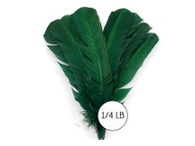 1/4 Lb - Hunter Green Turkey Tom Rounds Secondary Wing Quill Wholesale Feathers (Bulk)