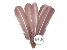 1/4 Lb - Taupe Turkey Tom Rounds Secondary Wing Quill Wholesale Feathers (Bulk)