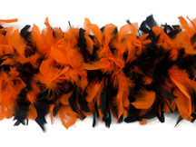 2 Yards - Orange & Black Heavy Weight Chandelle Feather Boa | 80 Gram