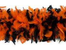 2 Yards - Orange & Black Heavy Weight Chandelle Feather Boa | 80 Gram