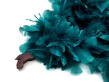 2 Yards - Peacock Green Heavy Weight Turkey Flat Feather Boa, 150 Gram