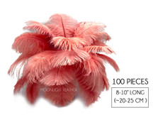 "100 Pieces - 8-10"" Pink Blush Ostrich Dyed Drab Body Wholesale Feathers (Bulk)"