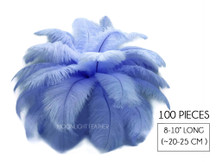 "100 Pieces - 8-10"" Light Blue Ostrich Dyed Drab Body Wholesale Feathers (Bulk)"