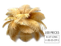 "100 Pieces - 8-10"" Antique Gold Ostrich Dyed Drab Body Wholesale Feathers (Bulk)"