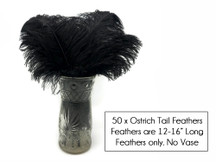 "50 Pieces - 12-16"" Black Ostrich Tail Centerpiece Costume Wholesale Feathers (Bulk)"
