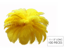 "100 Pieces - 11-13"" Yellow Ostrich Drabs Wholesale Body Feathers (Bulk)"