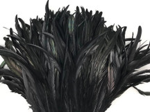 """10 Pieces -  14-16"""" Dyed Black Long Coque Rooster Tail Loose Rooster Feathers"""