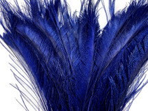 5 Pieces - Navy Blue Bleached & Dyed Peacock Swords Cut Feathers