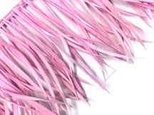 1 Yard - Light Pink Goose Biots Stripped Wing Wholesale Feather Trim