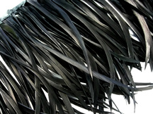 1 Yard - Black Goose Biots Stripped Wing Wholesale Feather Trim