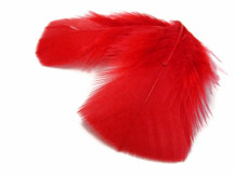1 Pack - Red Dyed Turkey T-Base triangle Body Plumage Feathers 0.50 Oz.