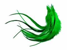 1 Dozen - Medium Kelly Green Solid Rooster Hair Extension Feathers