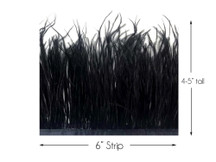 6 Inch Strip - Black Ostrich Fringe Trim Feather