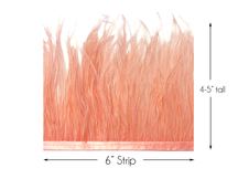 6 Inch Strip - Peach Pink Ostrich Fringe Trim Feather