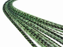 10 Pieces - Mint Green Thin Long Grizzly Rooster Hair Extension Feathers
