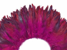 4 Inch Strip - Hot Pink Dyed Half Bronze Strung Rooster Schlappen Feathers