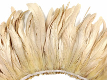 2.5  Inch Strip -  Ivory Strung Natural Bleach Coque Tails Feathers