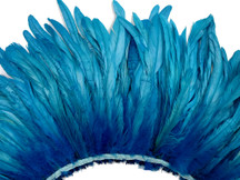 2.5 Inch Strip - Turquoise Blue Strung Bleach & Dyed Rooster Coque Tails Feathers