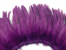 2.5  Inch Strip -  Purple Strung Natural Bleach And Dyed Coque Tails Feathers