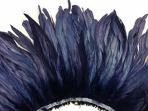 2.5  Inch Strip - Navy Strung Natural Bleach And Dyed Coque Tails Feathers