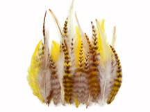 2 Dozen - Short Gold Mix Grizzly Rooster Hair Extension Feathers