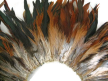 "4 Inch Strip - 5-7"" Brown Bronze Strung Rooster Schlappen Feathers"