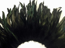 4 Inch Strip - Black Dyed Half Bronze Strung Rooster Schlappen Feathers