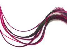 6 Pieces - XL Hot Pink Badger Thick Extra Long Rooster Hair Extension Feathers