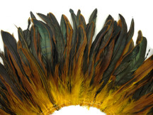 2.5  Inch Strip -  Yellow Gold Half Bronze Natural Dyed Coque Tail Strung Feathers