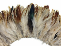 4 Inch Strip - Natural Cream And Red Strung Rooster Schlappen Feathers