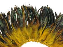 4 Inch Strip - Yellow Dyed Half Bronze Strung Rooster Schlappen Feathers